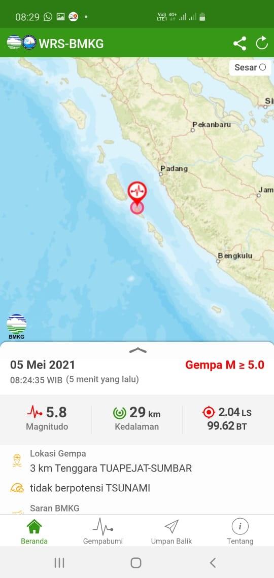 Akibat Guncangan Gempa 5,8 SR Sirene Mengaung-Gaung Warga Tiku Panik