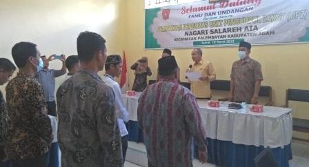 Pengurus UPZ Salareh Aia Periode 2021-2026 di Kukuhkan